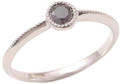 【送料無料】0.20ct 一粒 ブラックダイヤモンド ミル打ち リング K18 【重ねづけ リング】ダイヤモンドリング