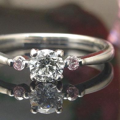 【SIクラス Hアップカラー】0.2ct 一粒 ダイヤモンド & ピンクダイヤ ソリテール リング K18 3種 ※プラチナ Pt900でも作成可 【重ねづけ リング】ダイヤモンドリング ピンクダイヤ