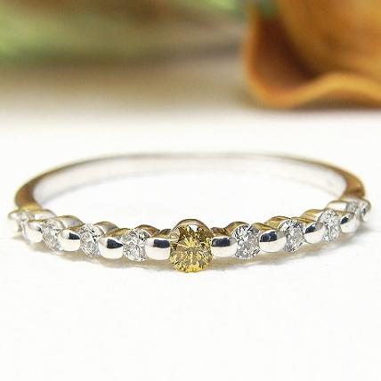 【稀少 ファンシーイエローダイヤ 1石 & VSクラス ダイヤモンド】9ストーン ダイヤモンド リング K18 3種 ダイヤモンドリング