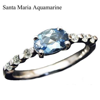 一粒 サンタマリア アクアマリン オーバル ダイヤモンド リング K18