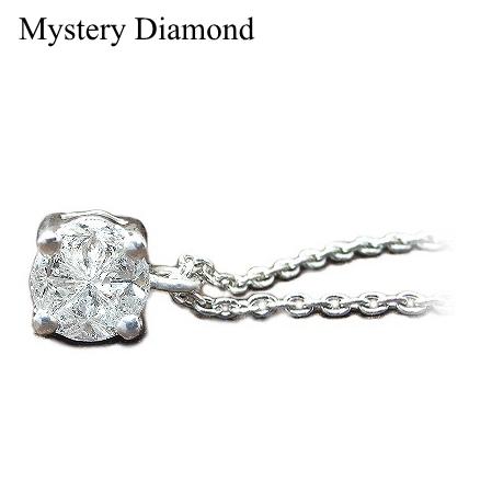 K18WG 大粒 ミステリー ダイヤモンド ネックレス 0.25ct ダイヤモンドネックレス
