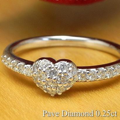 0.25ct ハートダイヤモンド パヴェ リング K18 3色【送料無料】 【指輪 リング Diamond Ring ダイヤモンドリング】パヴェダイヤモンド