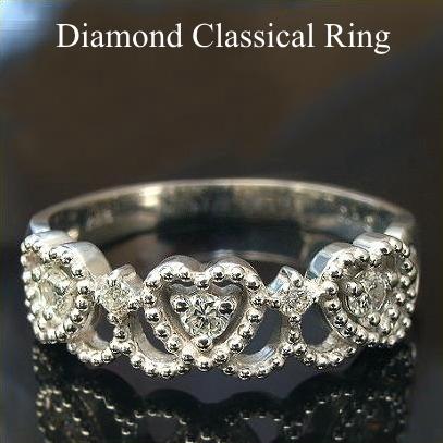 ミル打ち ハート ダイヤモンド リング 0.12ct SI-VSクラス【ダイヤモンド リング Diamond Ring】