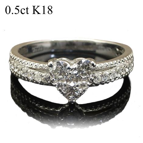 K18 大粒 ハート ダイヤモンド リング ハートダイヤモンドリング 0.5ct 鑑別書付 Diamond Ring