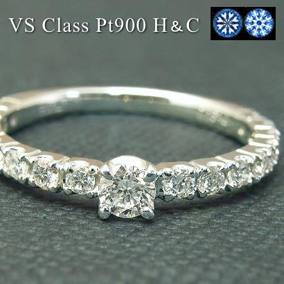 【10%OFFクーポン付】ダイヤモンド エタニティリング ダイヤ リング【VSクラス H-G】プラチナ Pt900 ダイヤモンド 0.4ct センター石のみH&Cダイヤ 指輪 Diamond Ring ダイヤモンドリング H&C ハート&キューピッド