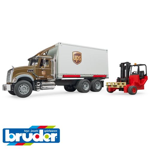 砂場 おもちゃ Bruder ブルーダー【正規輸入品】 ドイツ mack(マック) UPS&フォークリフト 【1/16 ミニカー】【ごっこ遊び】【Y】