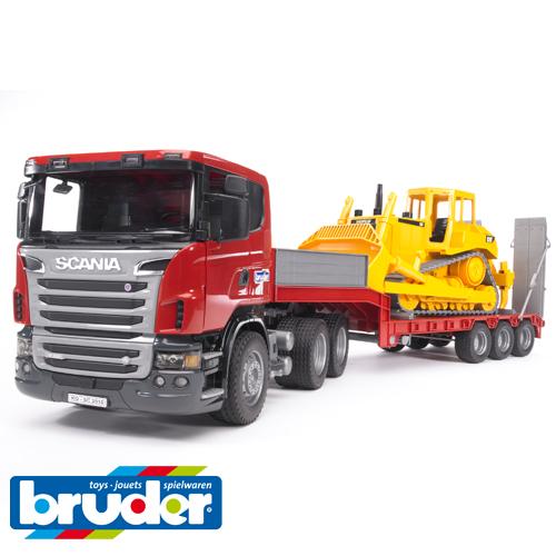 Bruder ブルーダー【正規輸入品】 ドイツ SCANIA(スカニア) トラック&CATブルドーザー【1/16 ミニカー】【Y】