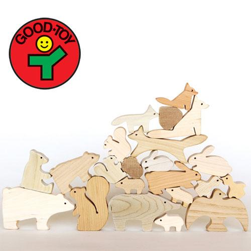 オークヴィレッジ・Oak Village 白木・無塗装の木のおもちゃ 森のどうぶつつみき グッド・トイ2013、林野庁長官賞を受賞 積木 知育玩具 出産祝い お誕生日 ギフト【P】【kd】