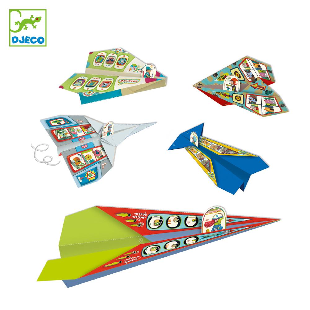 パイロットを乗せて紙飛行機を飛ばそう! DJECO ジェコ オリガミ プレイン おもちゃ 知育玩具 紙製 海外 こども 女の子 男の子 7歳以上 折り紙 ペーパートイ 飛行機 工作 パイロット おしゃれ おすすめ プレゼント おうち時間 ラッピング