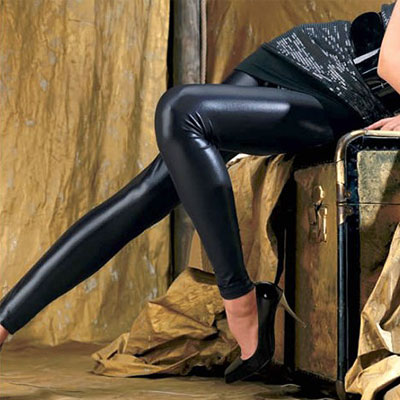 OROBLU 摩根娜皮革紧身裤,黑色棕色银