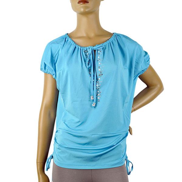 【SALE】 GIARDINO PRIVATO スタッズ刺繍コサックチュニック ブルー【送料無料】【あす楽対応】