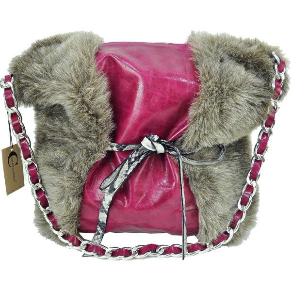 イタリア・インポート バッグ: IKO ファー切替レザーメッセンジャーバッグ フクシア 【送料無料】【あす楽対応】