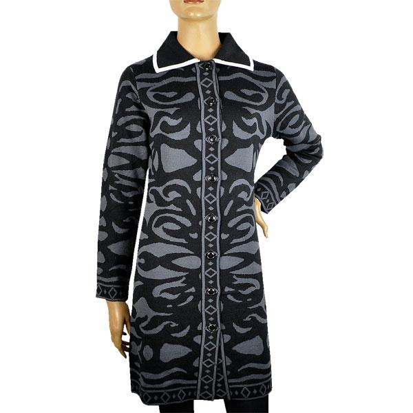 【イタリア コート】【秋冬】 ELEONORA AMADEI ジャカードニットコート グレー黒 【送料無料】【あす楽対応】