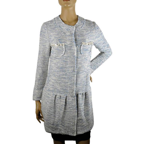 【春夏】イタリア インポート コート IKO 刺繍ツイードコート ブルー 【送料無料】【あす楽対応】