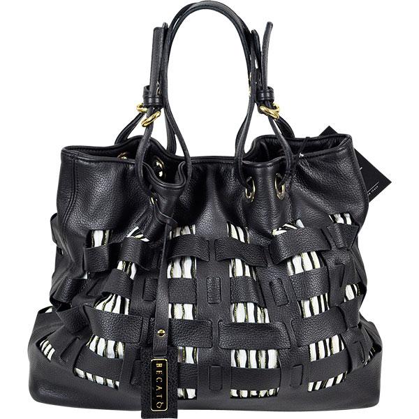 【イタリア バッグ】 BECATO 切替レザーバッグ 黒 【インポート バッグ】【送料無料】 【あす楽対応】