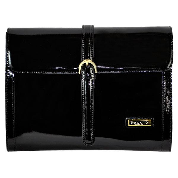 [イタリア バッグ]BECATO 2WAYエナメルレザークラッチバッグ 黒 [インポート バッグ]【送料無料】【あす楽対応】10P07Jan17