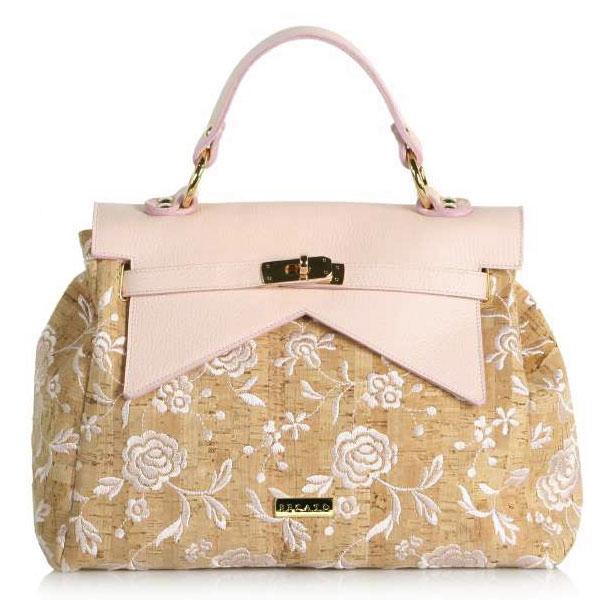 イタリア バッグ BECATO 刺繍2WAYハンドバッグ ショルダーストラップ付 ピンク 【送料無料】【あす楽対応】