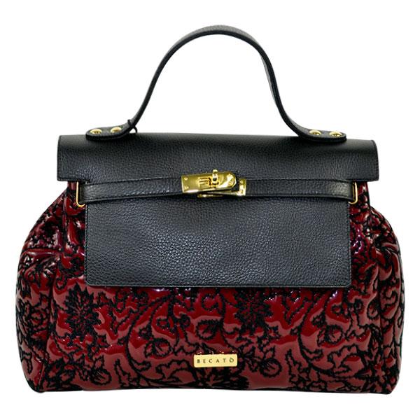 イタリア バッグ BECATO CONSUELO 刺繍エナメルバッグ ショルダーストラップ付 赤【送料無料】【あす楽対応】
