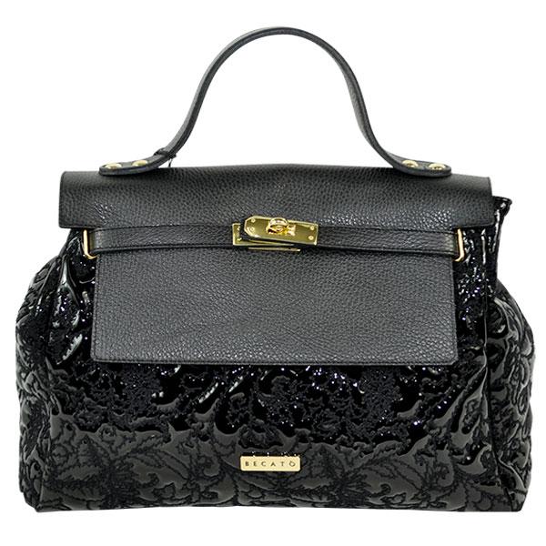 イタリア バッグ BECATO CONSUELO 刺繍エナメルバッグ ショルダーストラップ付 黒【送料無料】【あす楽対応】