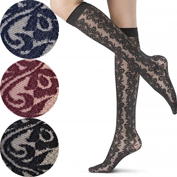 ca9be4c71 Three colors of Italian import luxury brand pattern knee high stockings  OROBLU IRIS floral pattern race knee high stockings