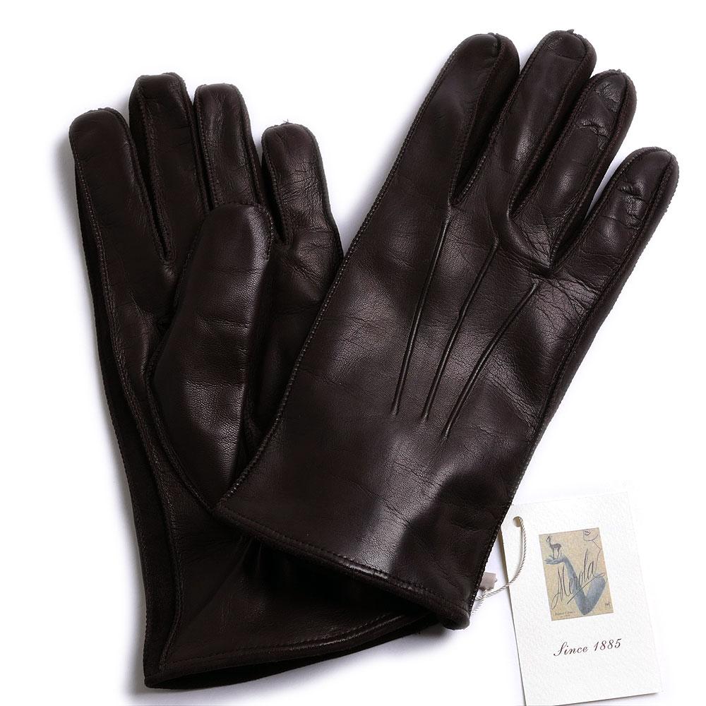 メローラ【イタリア製】MEROLA カシミヤ裏地 ラムナッパ/スエードグローブ(ダークブラウン) 手袋メンズ 冬 防寒 手袋