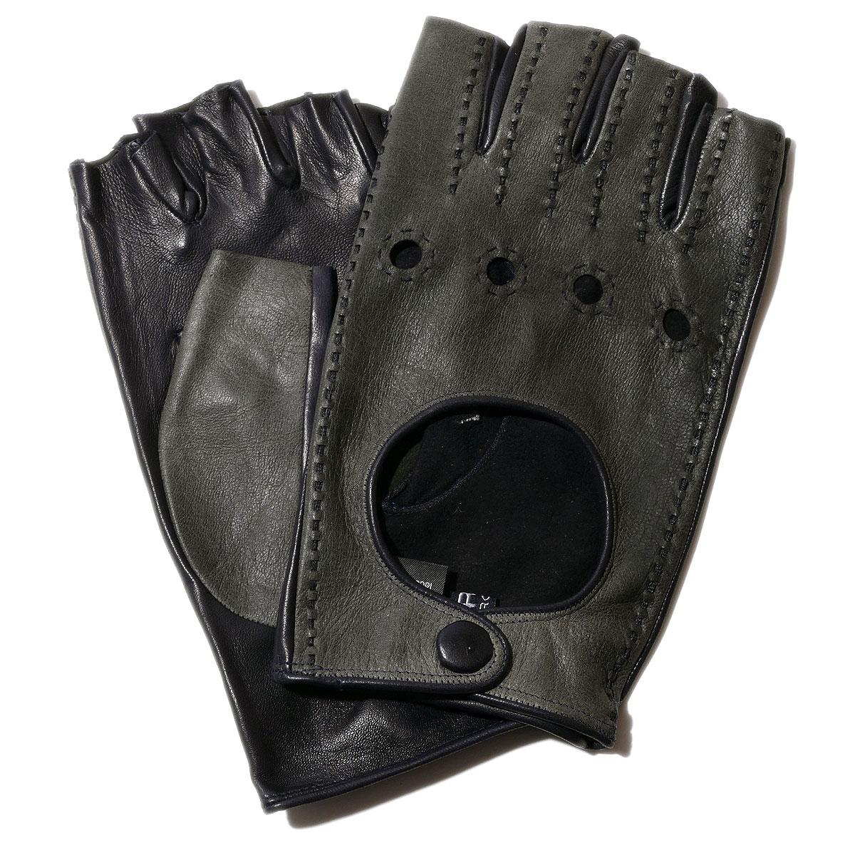 メローラ カットオフ ドライビンググローブ ヴィンテージ・ラムナッパ(グレー/ネイビー)【イタリア製】MEROLA 手袋指なし メンズ【手ぶくろ 男性用 】 ブランド ギフト