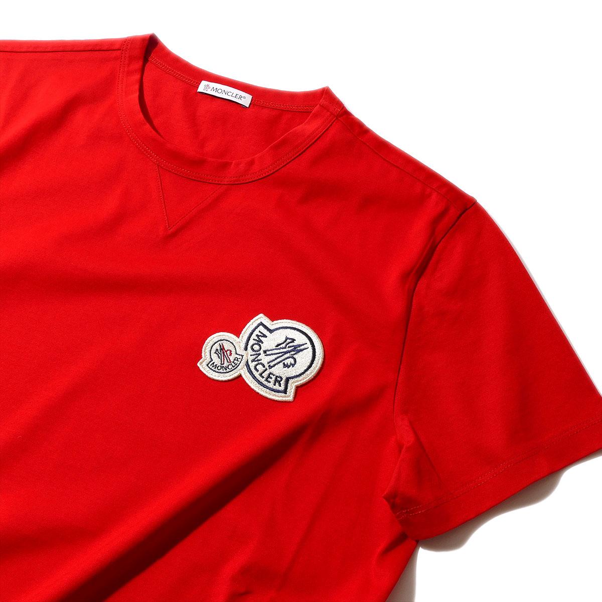 モンクレール2018SS エンブレム付きTシャツ80325 448レッド メンズ【トップス Tシャツ 半袖 おしゃれ 夏服 メンズ 誕生日プレゼント】MONCLER