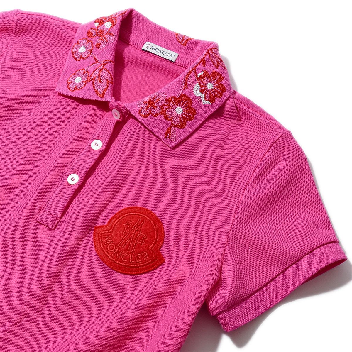 モンクレール 鹿の子 刺繍襟 ポロシャツ 8386050 522ピンク レディース MONCLER