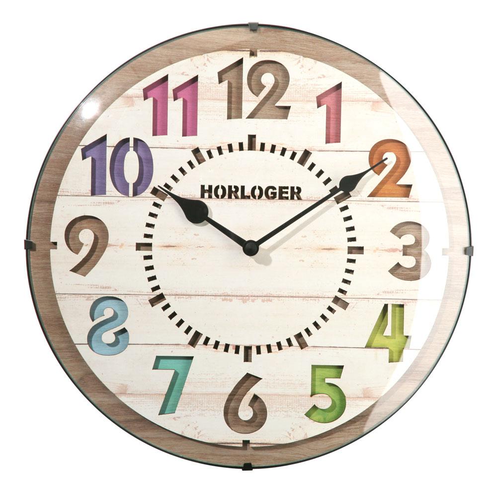 <クーポンで1,000円引き> クロック 電波時計 壁掛け時計 掛け時計 掛時計 壁掛け 時計 壁掛時計 アナログ インテリア雑貨 リビング ギフト 祝い サロン カフェ プレゼント ポップ 木目調 ブラウン ホワイト 送料無料 おしゃれ