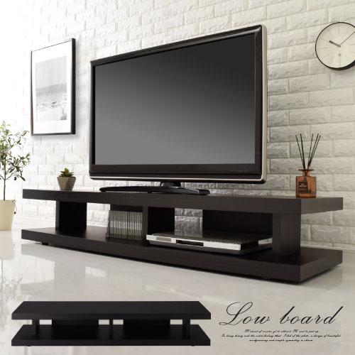 テレビ台 ローボード 薄型 モダン ダークブラウン/ブラック TVB018030