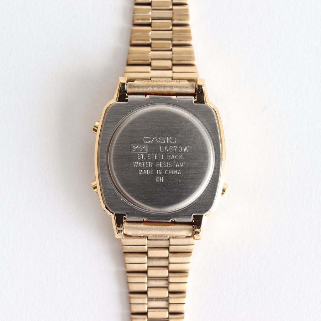 CASIO | カシオ - DIGITAL WATCH WITH AUTHENTIC DIAMONDS #GOLD STAINLESS STEEL BAND / GOLD CASE [LA670WGAD-1]