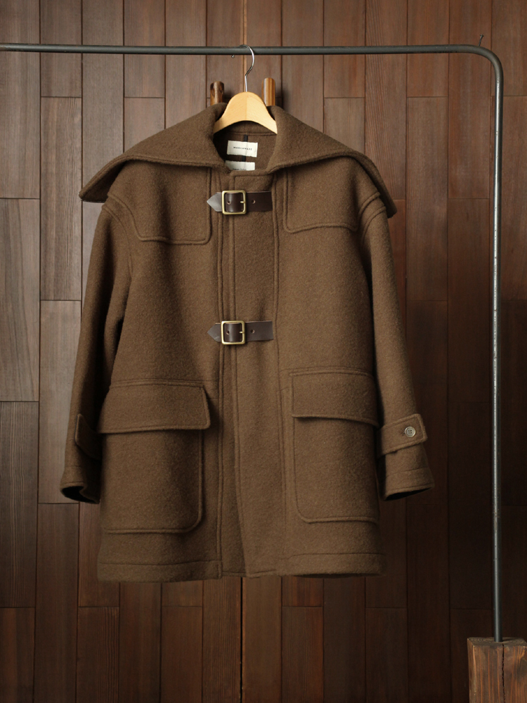 MARKAWARE SHORTBELTED DUFFLE COAT #OLIVE BROWN