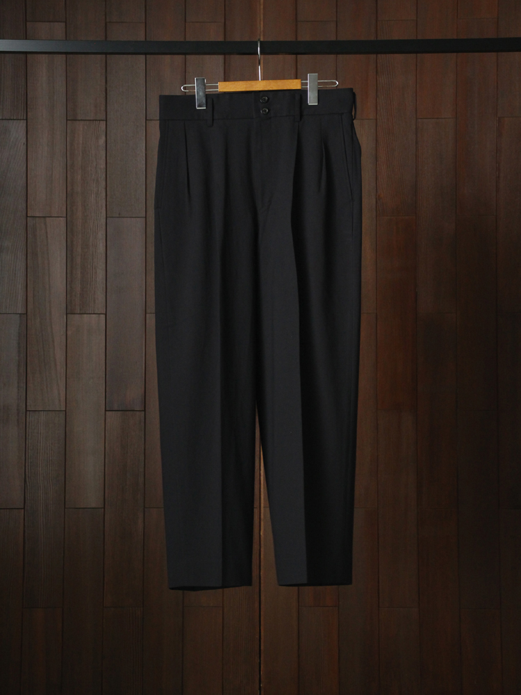 MARKAWARE DOUBLE PLEATED TROUSERS #BLACK