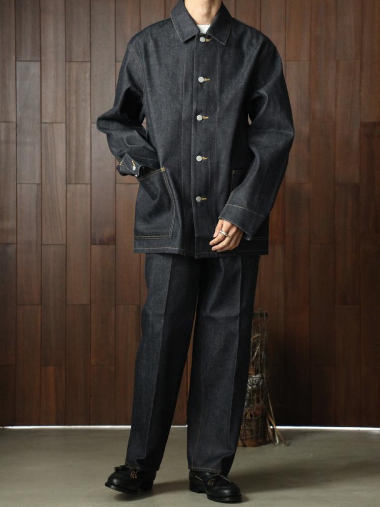 Text Farmer Jacket long #Indigo