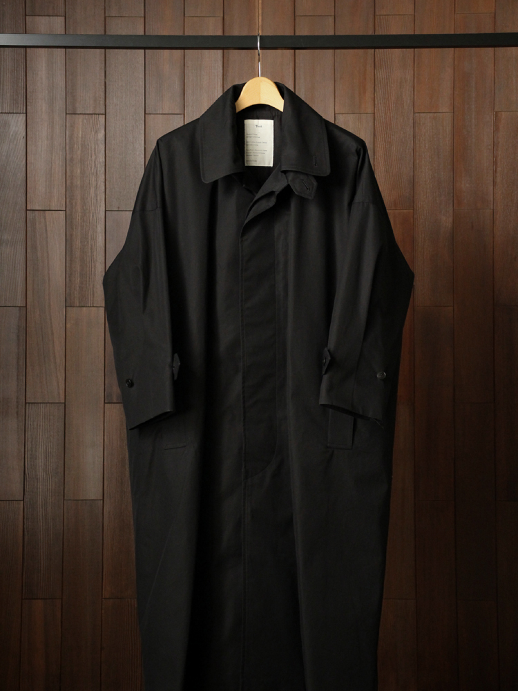 Text TrenchCoat SingleBreasted DoubleCollar #Black