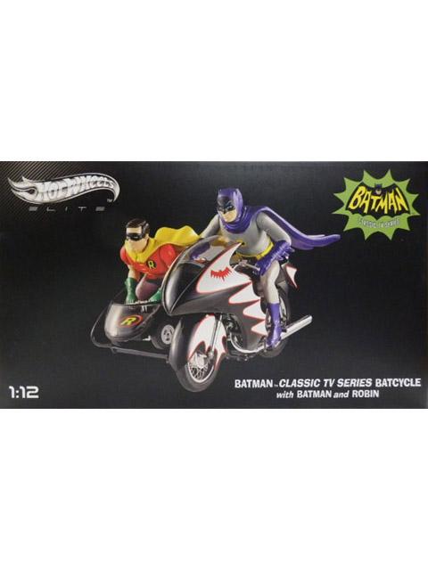 マテル 1/12スケール バットマン クラシック TVシリーズ バットサイクル バットマン&ロビン フィギュア付 【MTDJJ85】