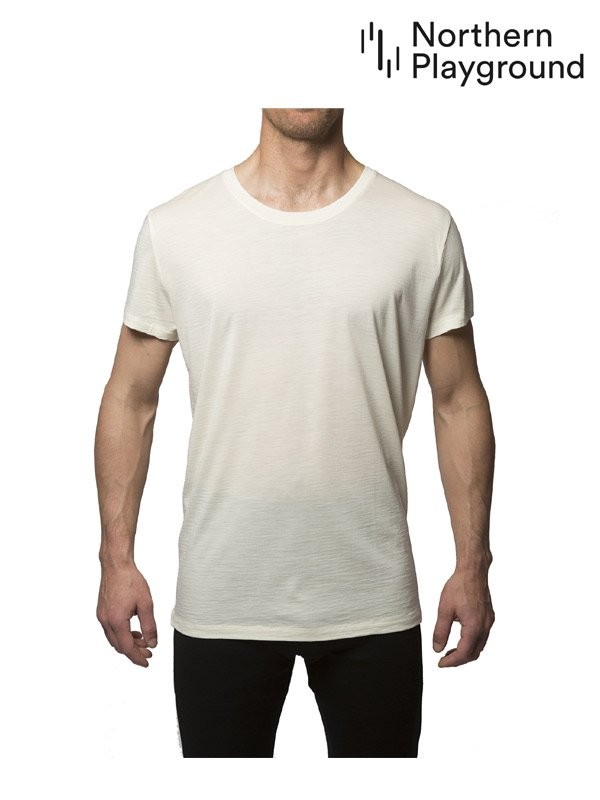 Northern Playground ノーザン プレイグラウンド|T-Shirt Organic Wool & Silk #White T-シャツ オーガニック ウール & シルク
