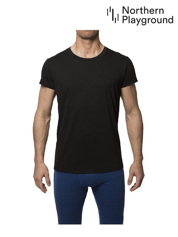 Northern Playground ノーザン プレイグラウンド|T-Shirt Organic Wool & Silk #Black T-シャツ オーガニック ウール & シルク