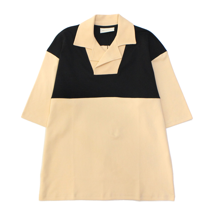 Drole de Monsieur | ドロールドムッシュ - Notched Collar Polo #BEIGE/BLACK