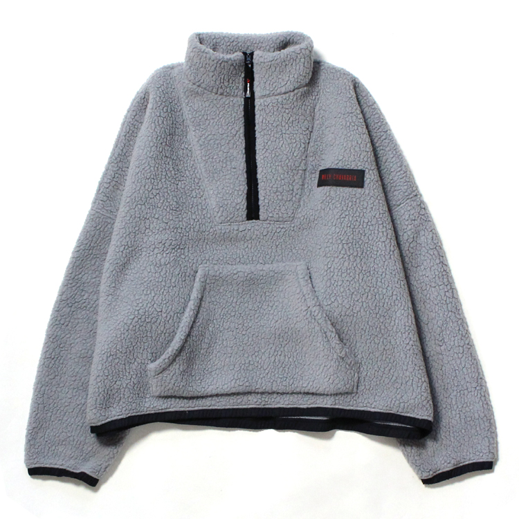 WILLY CHAVARRIA | ウィリーチャバリア - BOMBER 1/2 ZIP SWEATSHIRT #CHARCOAL