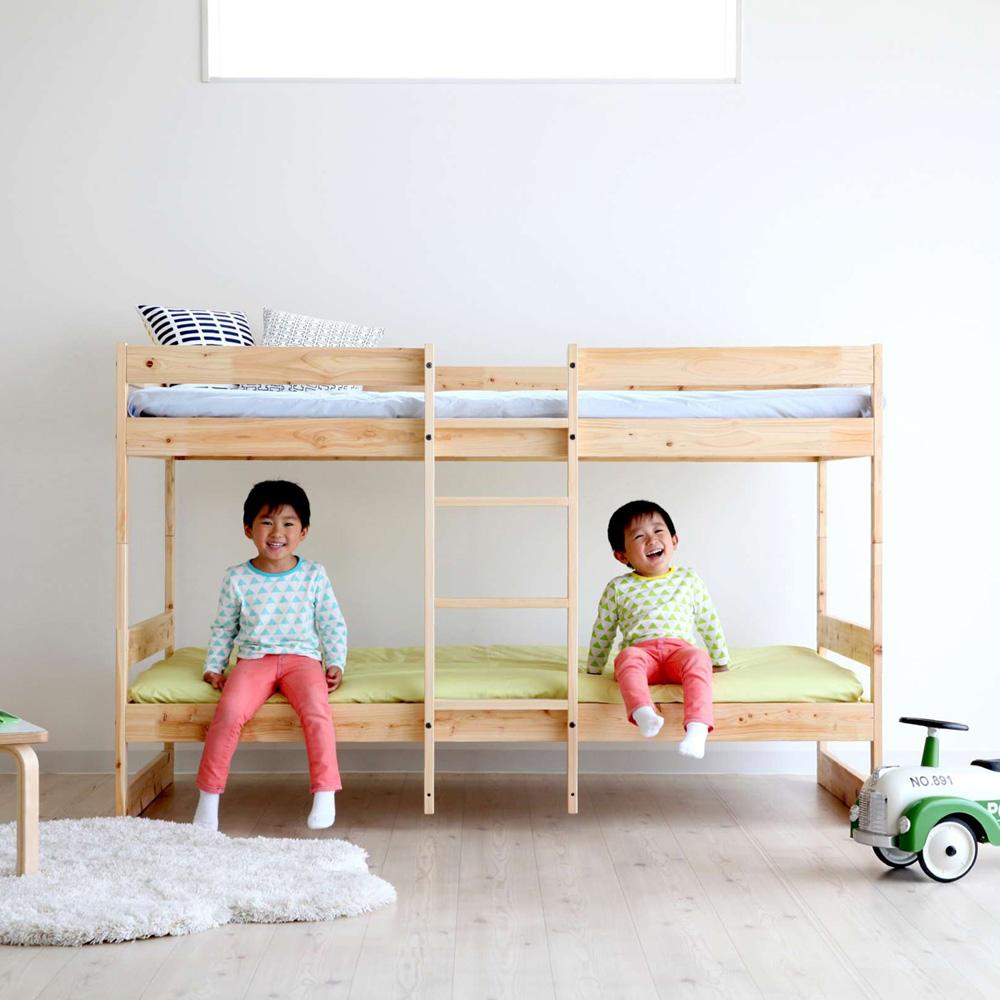 桐すのこ 二段ベッド シングル ナチュラル 日本製 家具の産地「広島県府中市」 送料無料 ベッドフレーム 低ホルム モデラート