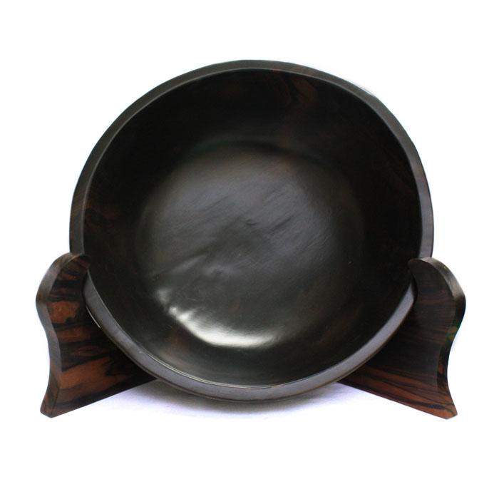 【展示品、現品限りの特別価格】高級天然木 黒檀 皿置物 3 立て タテ 置き物 インテリア オブジェ 手彫り moderato3