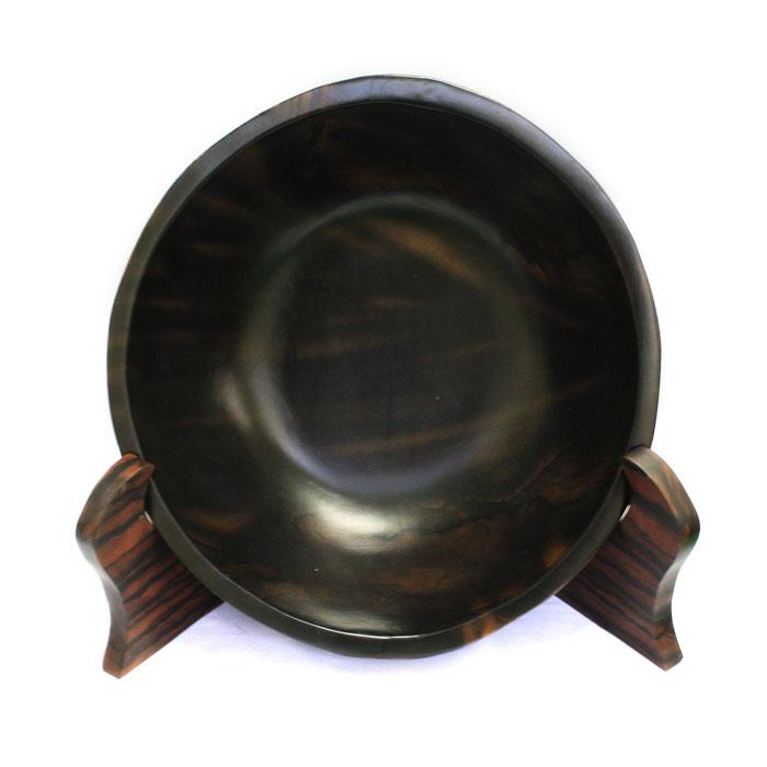 【展示品、現品限りの特別価格】高級天然木 黒檀 皿置物 5 立て タテ 置き物 インテリア オブジェ 手彫り moderato3
