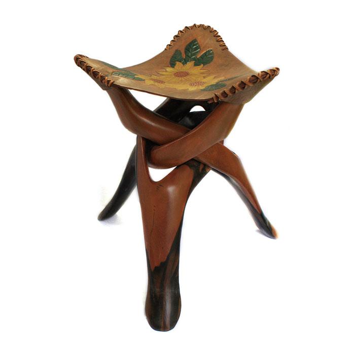 【展示品、現品限りの特別価格】高級天然木 黒檀 イスと皿 2 置物 インテリア オブジェ 手彫り moderato3