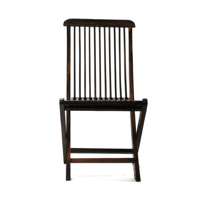 【展示品、現品限りの特別価格】高級天然木 黒檀 椅子 折りたたみ チェア 置物 インテリア オブジェ