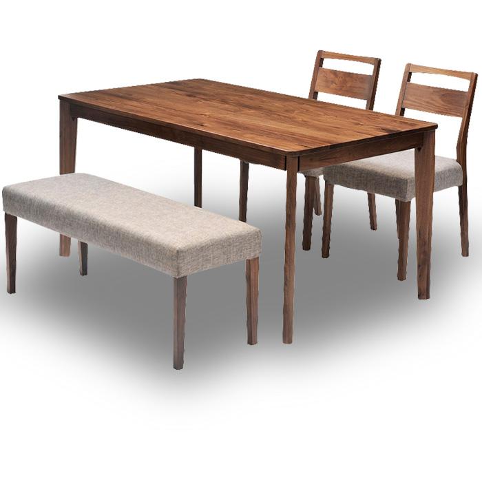 ダイニングテーブル 4点セット 幅140cmダイニングテーブル+ダイニングチェア2台+ダイニングベンチ1台セット