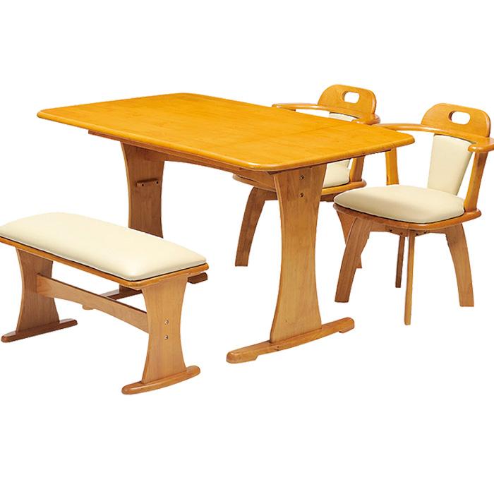 ダイニングテーブル 5点セット 幅120cmダイニングテーブル+回転ダイニングチェア2台+ダイニングベンチ1台セット