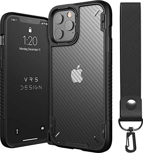 格安SALEスタート iPhone12 VRS 低価格 iPhone12Pro Max 対応 ケース 耐衝撃 クリア 透明 ストラップ 吸収 カーボン 調 付き 携帯ケース 衝撃
