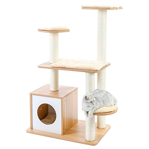 配送員設置送料無料 キャットタワー 木製 猫タワー 木目調タイプ 家具 手入れ簡単 猫ハウス きれい アイテム勢ぞろい リビング インテリア 物置