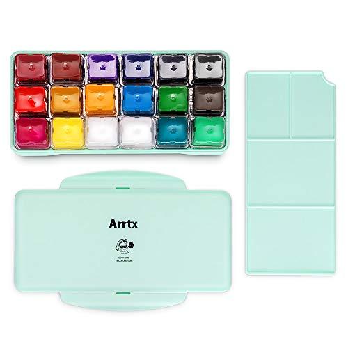 新品未使用 Arrtx ガッシュ 絵の具 18色セット 水彩絵具 水彩セット ゼリーカップデザイン ファクトリーアウトレット 不透明